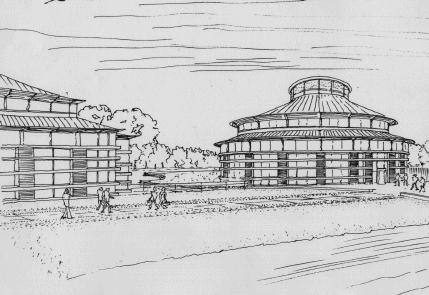 Architect's sketch of the new Library